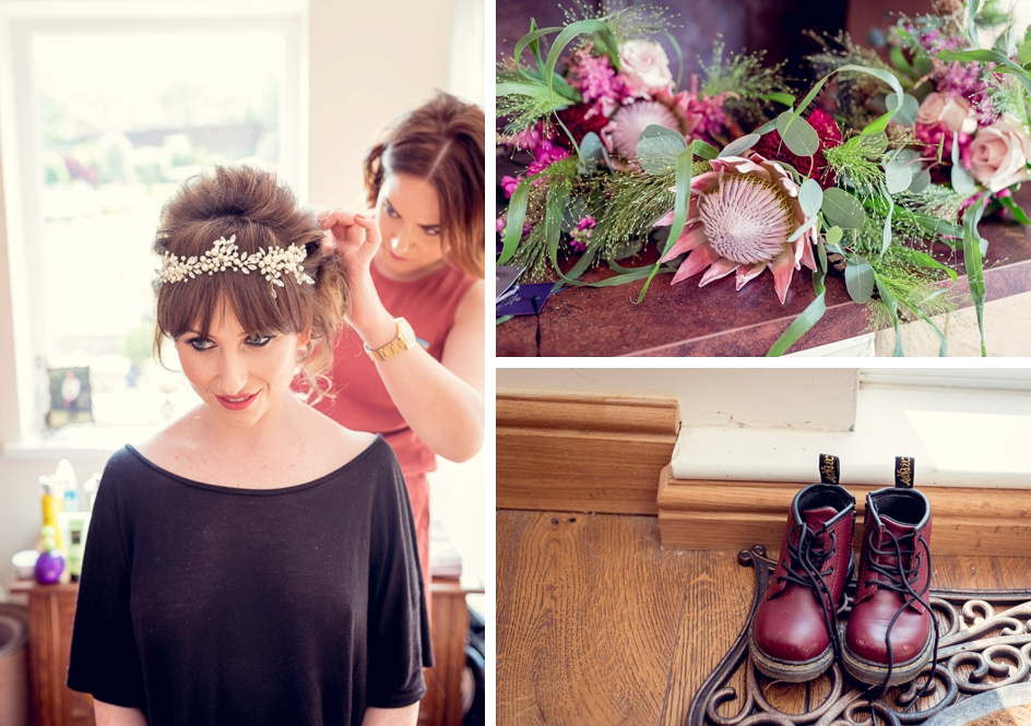 bride having hair done  unusual flowers and pageboy's DM boots