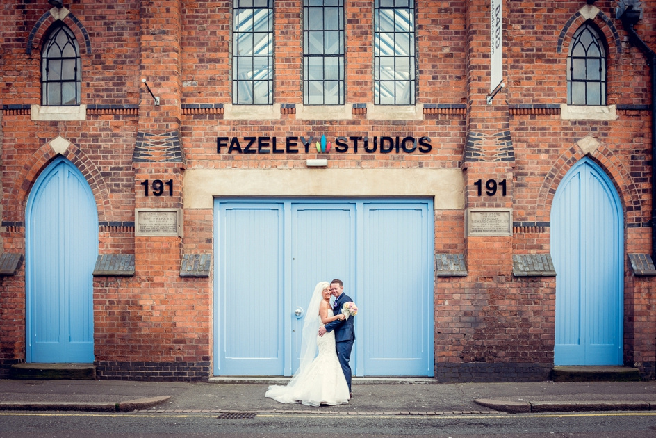 bride and groom outside Fazeley Studios in Birmingham