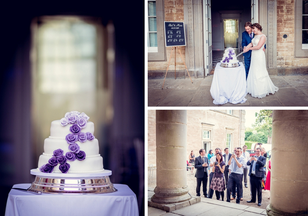 bride and groom cutting cake at Compton Verney