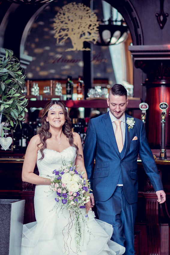 bride walking down aisle with brother  in Champagne Bar at Old Thorns
