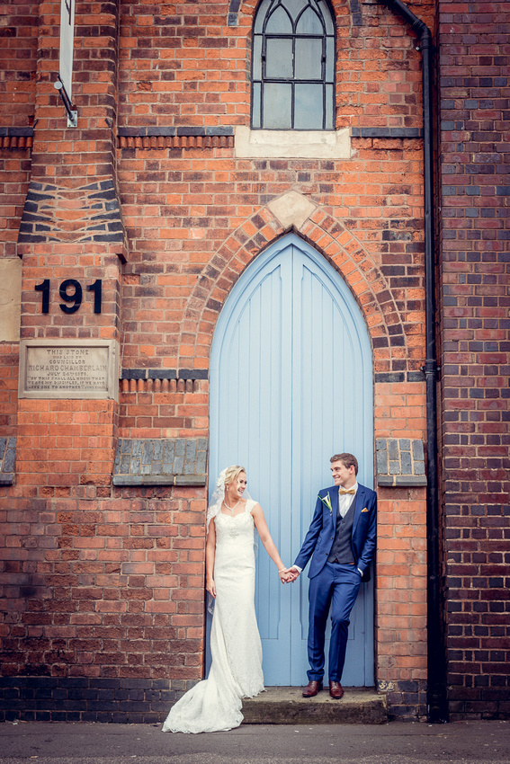Wedding Photography at Fazeley Studios in Birmingham relaxed urban couple portrait
