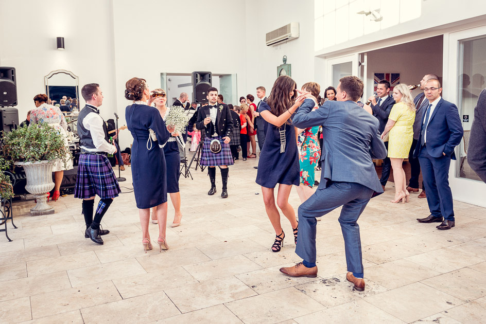 guests dancing at wedding reception at Fazeley Studios