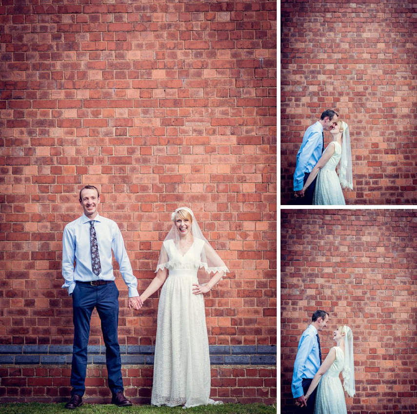 bride and groom portraits at Hatton Village Hall in Warwickshire
