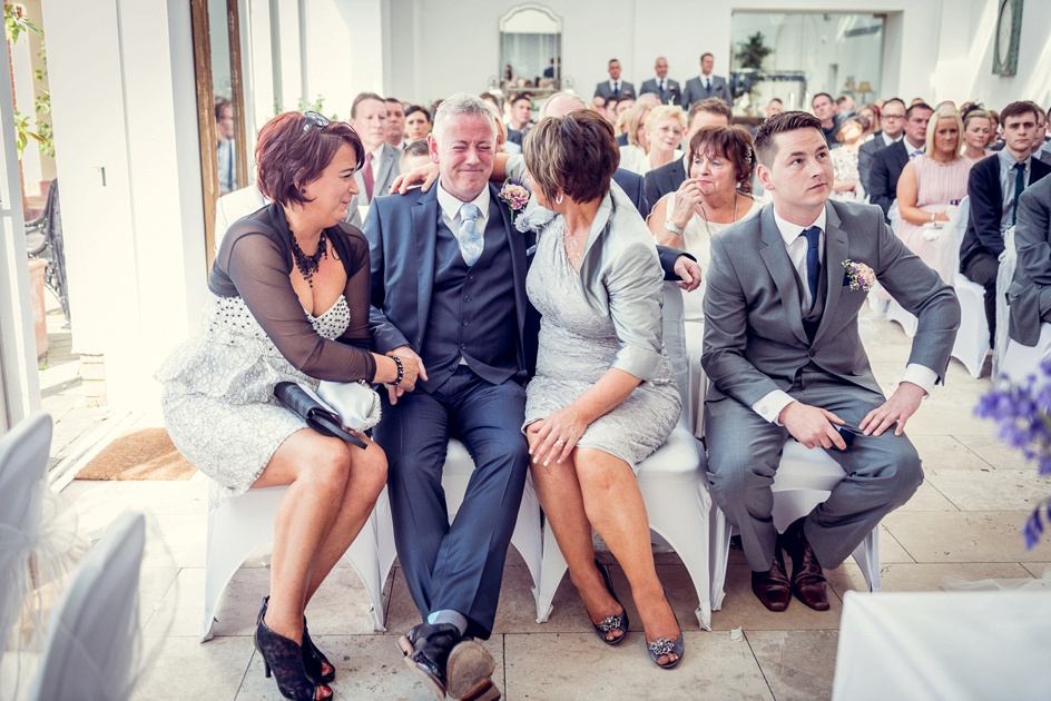 groom's father cries during wedding at Fazeley Studios in Birmingham