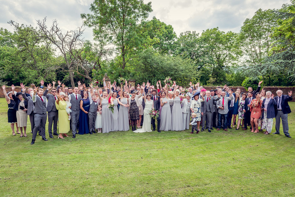 group shot of wedding guests at Gorcott Hall near Redditch