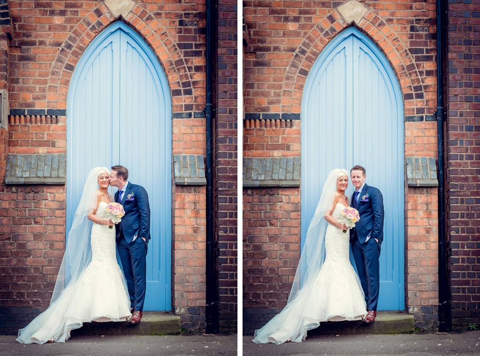 bride and groom outside Fazeley Studios in Digbeth