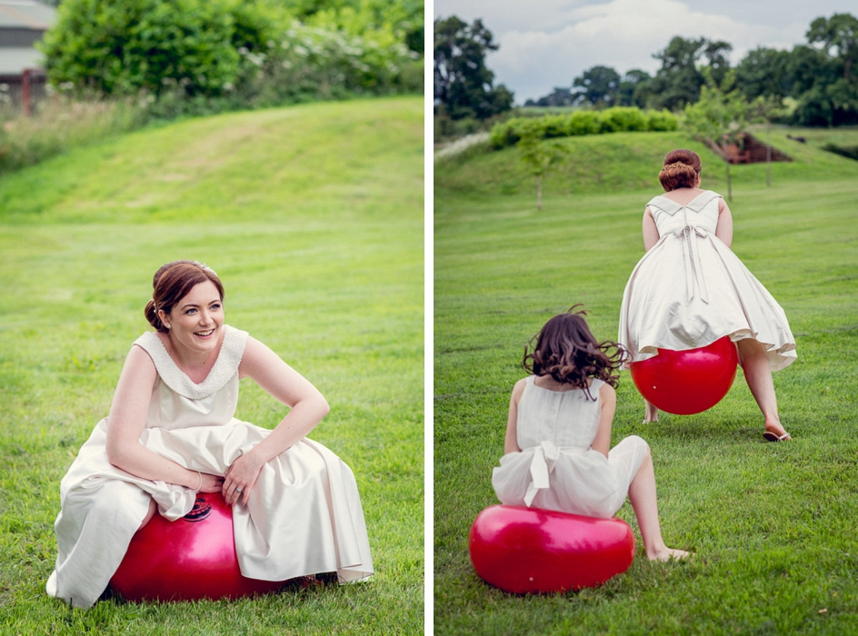 bride on spacehopper at Wootton Park