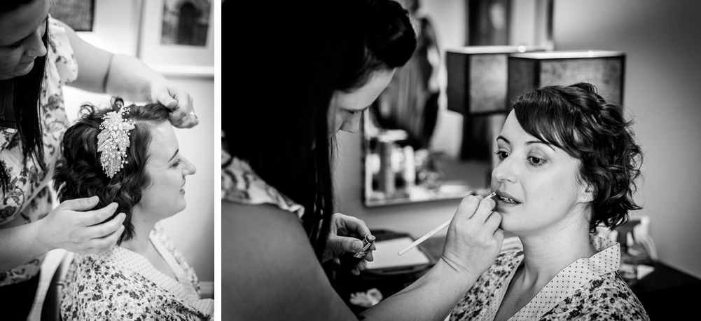 bride having make up and hair done before wedding in Warwickshire