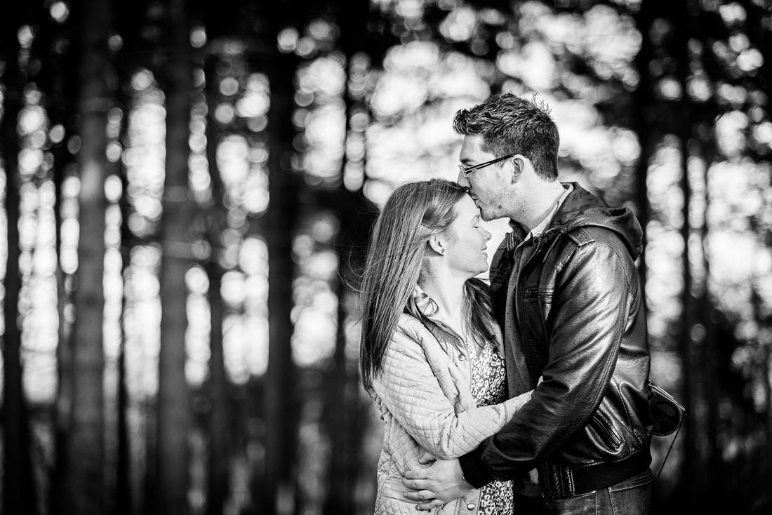 romantic pre-wedding portrait in the Lickey Hills