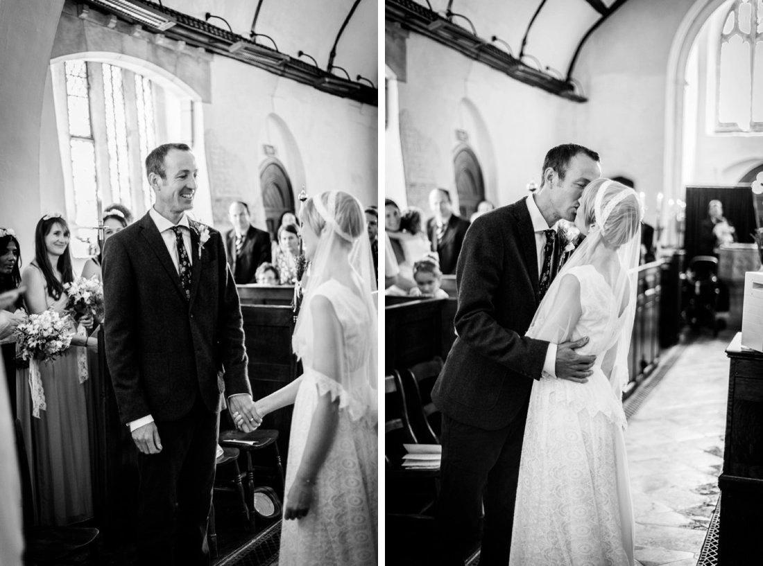 first kiss at St Mary's Church Hatton Warwickshire wedding