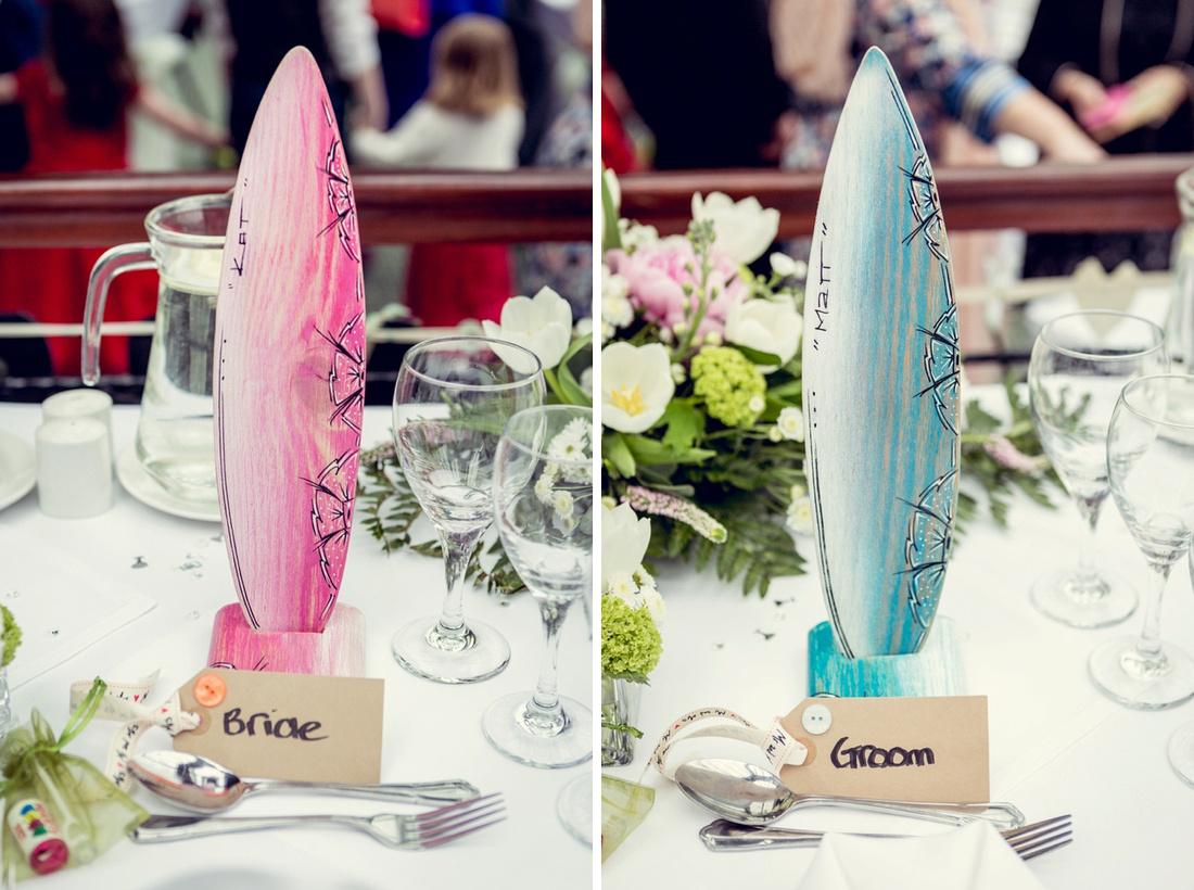 surf board wedding place settings