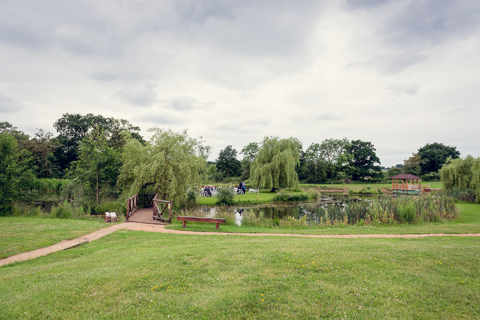 island at Wootton Park set up for wedding ceremony