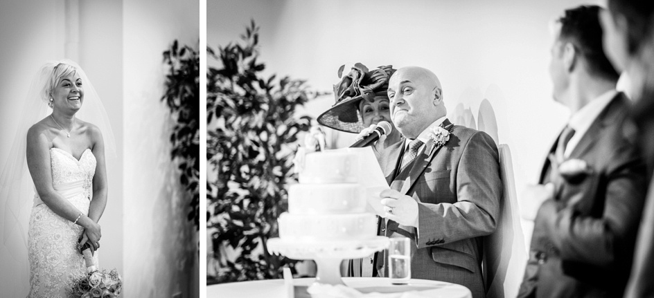 emotional father of the bride speech at Fazeley Studios in Birmingham