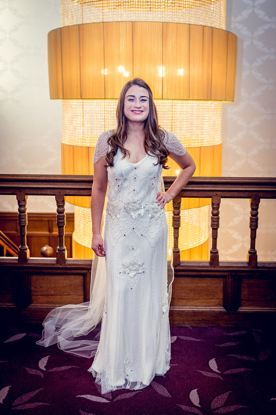 glamorous bride in Jenny Packham dress at Hampton Manor