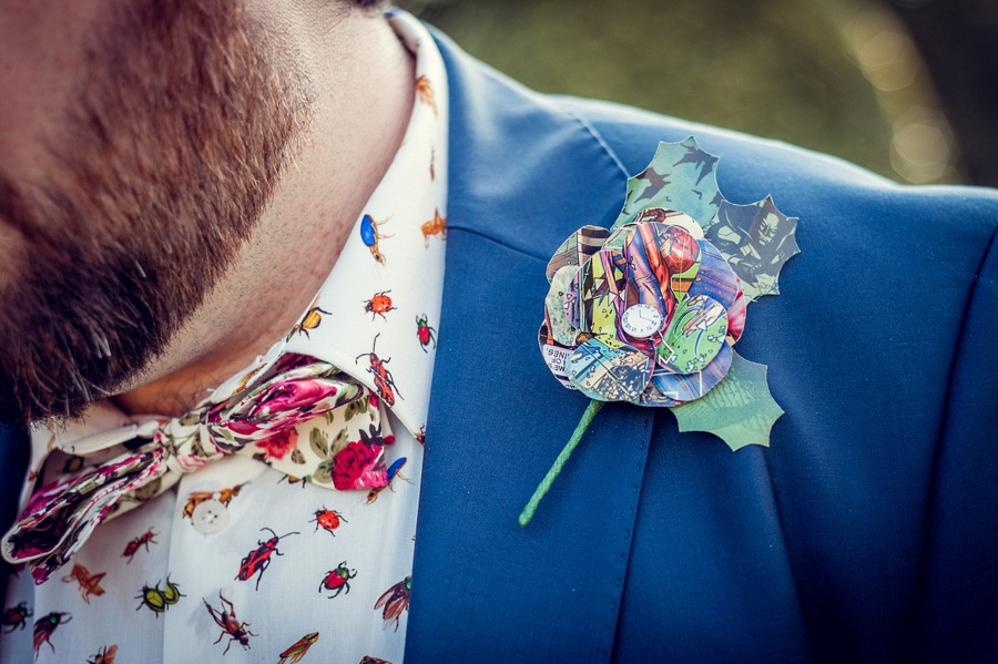 Wedding photography at Highbury Hall in Birmingham groom buttonhole paper button flower