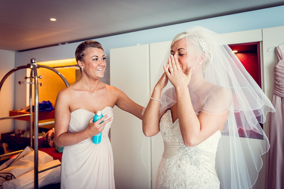 emotional bride getting ready