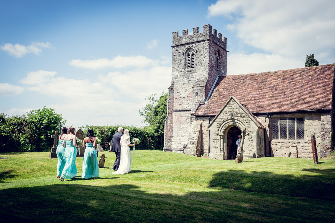 bride walking to St Mary's Church Hatton Warwickshire wedding