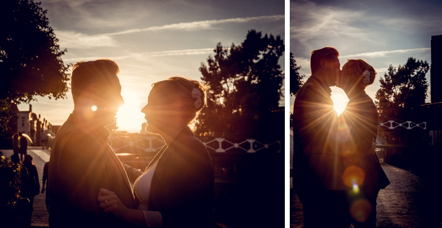 sunflare, flare, silhouette, couple, kissing