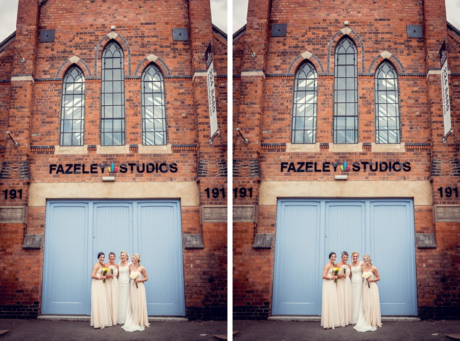 Wedding Photography at Fazeley Studios in Birmingham relaxed bridesmaids group shot