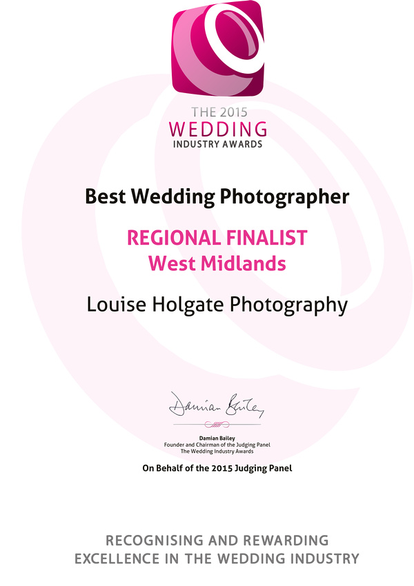 The 2015 Wedding Industry Awards REGIONAL FINALIST<br />West Mid