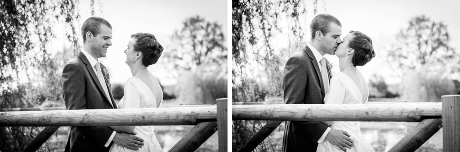romantic bride and groom on the bridge at Wootton Park