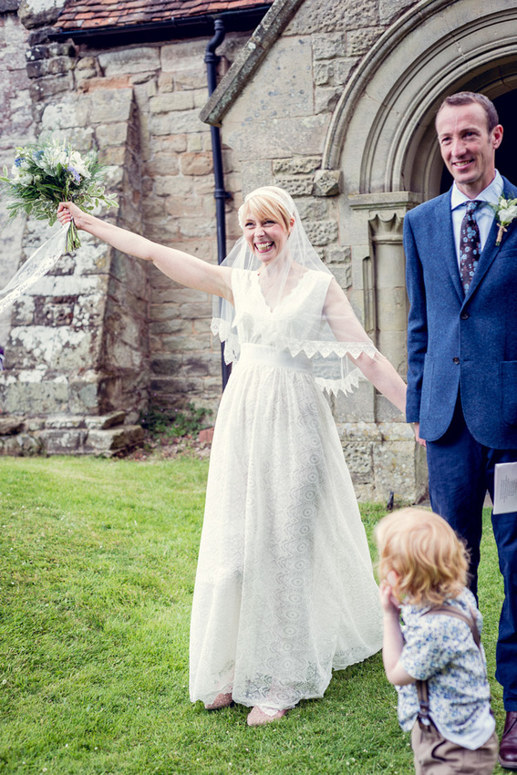 happy bride Minna dress Warwickshire