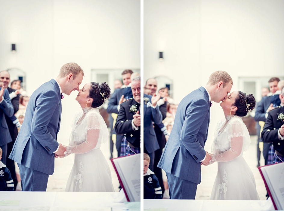 first kiss at Fazeley Studios wedding