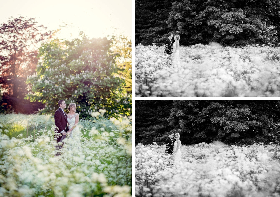 Golden hour couple portraits at Elmore Court in a field of cow parsley