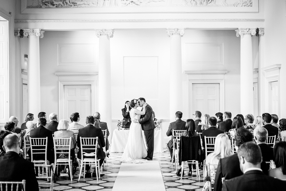 first kiss at Compton Verney wedding