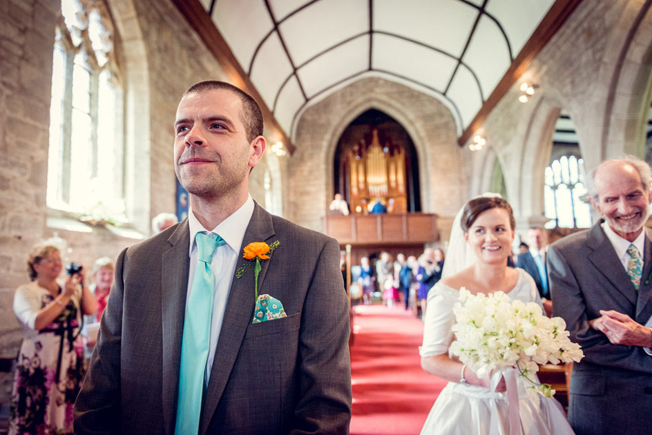 groom as bride walks down aisle in Inkberrow Church