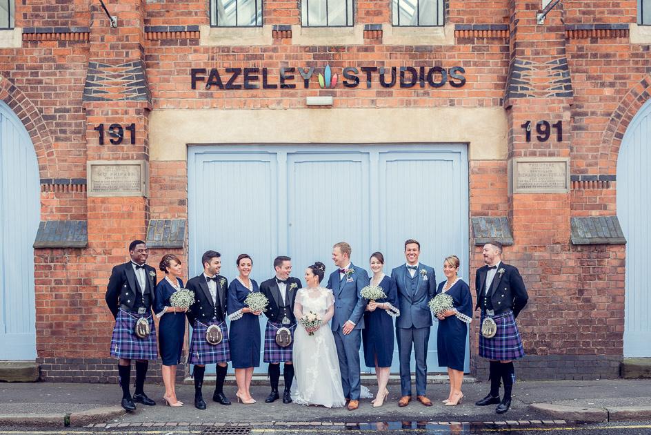 bridal party outside Fazeley Studios