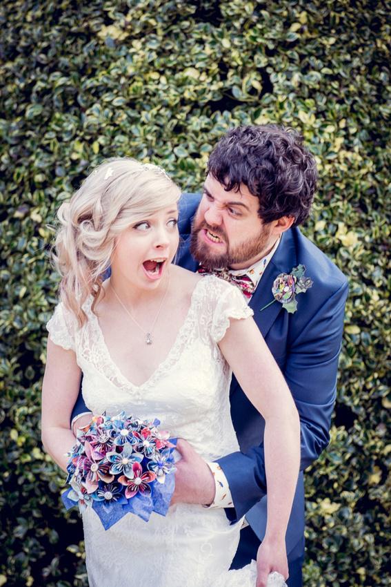 Wedding photography at Highbury Hall in Birmingham fun bride and groom portrait